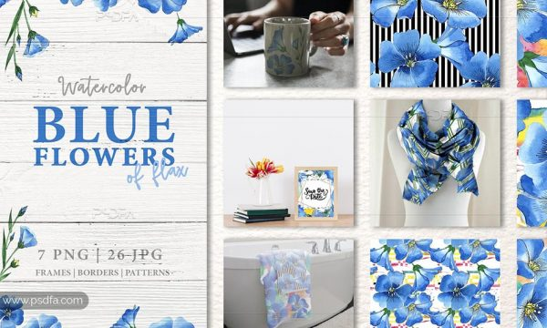 کلیپ آرت گل های آبی آبرنگی با فرمت PNG مناسب برای طراحی
