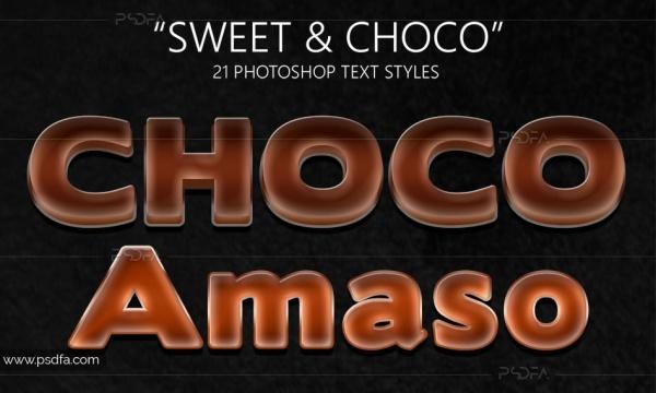 استایل شکلاتی فتوشاپ برای متون با فرمت ASL , PSD