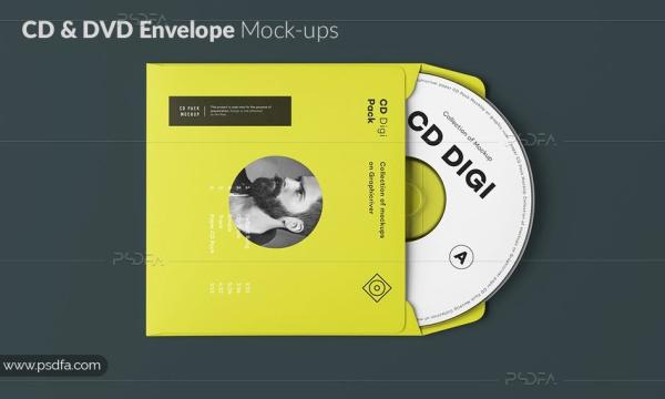قالب لایه باز موکاپ پاکت CD و DVD برای فتوشاپ با فرمت PSD