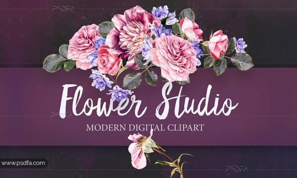 کلیپ آرت عناصر طراحی انواع گل با فرمت PNG