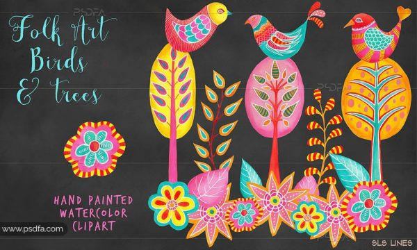 کلیپ آرت پرنده فانتزی و سنتی نقاشی شده مناسب برای طراحی
