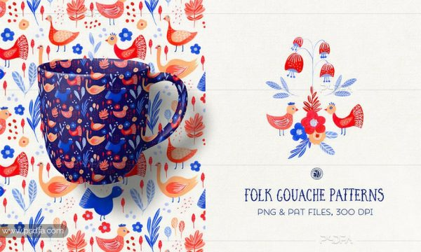 پترن طرح و نقش های فانتزی سنتی و محلی نقاشی شده با گواش