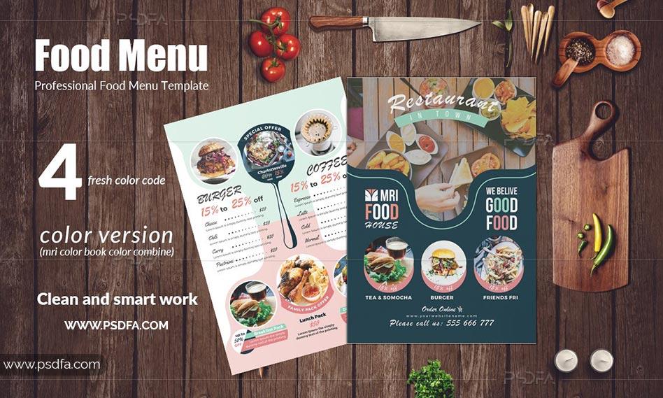 قالب لایه باز منوی غذایی رستوران با چهار فرمت PDF , AI , EPS , PSD