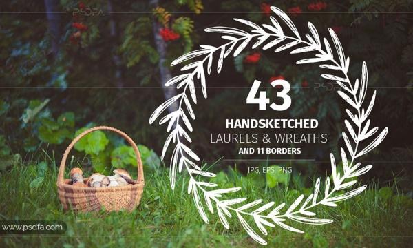 43 طرح وکتور قاب و حاشیه گلدار و تاج گل تزئینی دست ساز برای طراحی