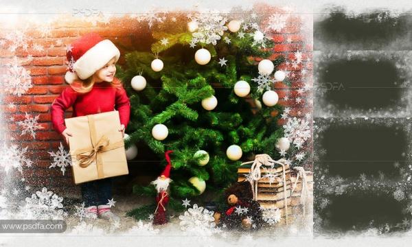 افکت قاب و حاشیه بلور برفی کریسمس برای عکس و تصاویر