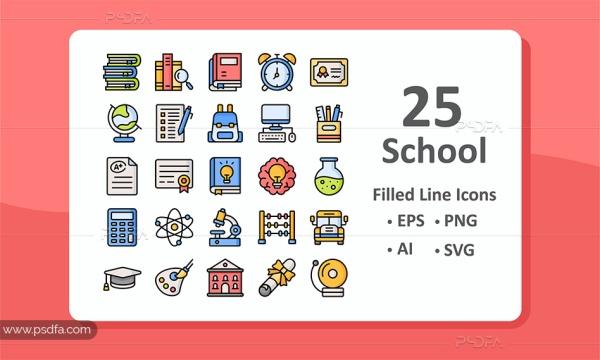 25 آیکون وسایل و تجهیزات مدرسه به صورت خطی توپر رنگی