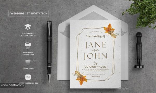 طرح لایه باز کارت عروسی شیک