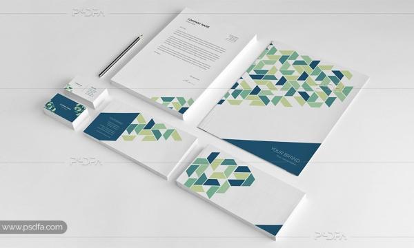 طرح لایه باز وکتور ست اداری شامل کارت ویزیت ، سربرگ ، فولدر و پاکت نامه
