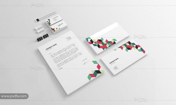 مجموعه قالب لایه باز ست اداری سربرگ ، فولدر ، پاکت نامه و کارت ویزیت
