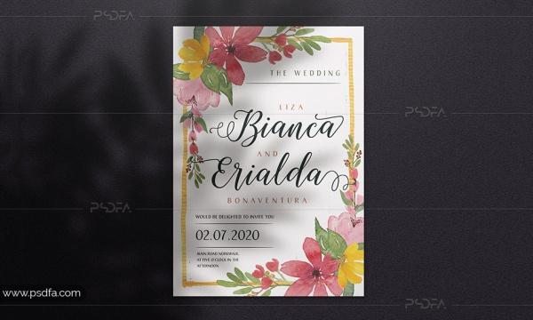 طرح لایه باز کارت دعوت عروسی