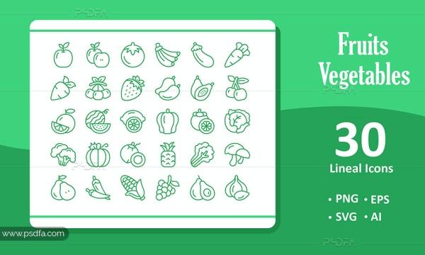 30 آیکون خطی میوه و سبزیجات با فرمت EPS , AI , PNG , SVG