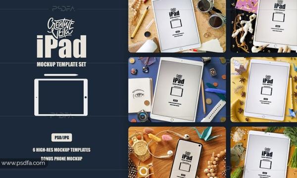 پیش نمایش و موکاپ تبلت آپد – iPad Mockup Scenes