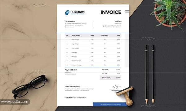 طرح وکتور فاکتور فروش شرکتی حرفه ای برای ایلاستریتور