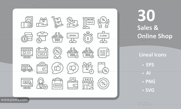 30 آیکون فروش و فروشگاه آنلاین با فرمت EPS , AI , PNG , SVG