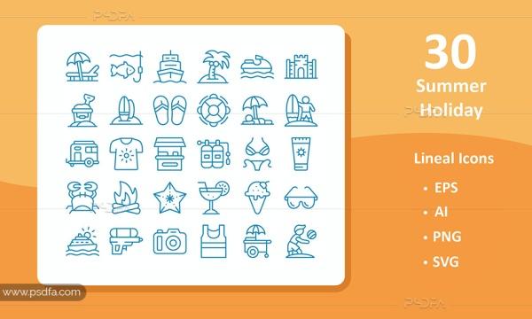 30 آیکون تعطیلات تابستانی ساحلی با فرمت EPS , PNG , PNG , SVG