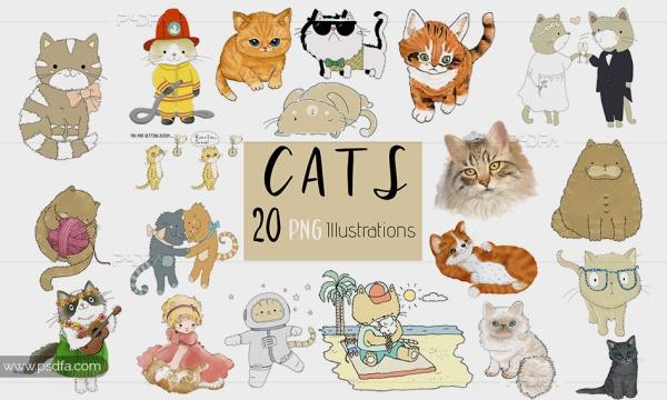 کلیپ آرت گربه کارتونی و فانتزی با فرمت PNG مناسب برای طراحی