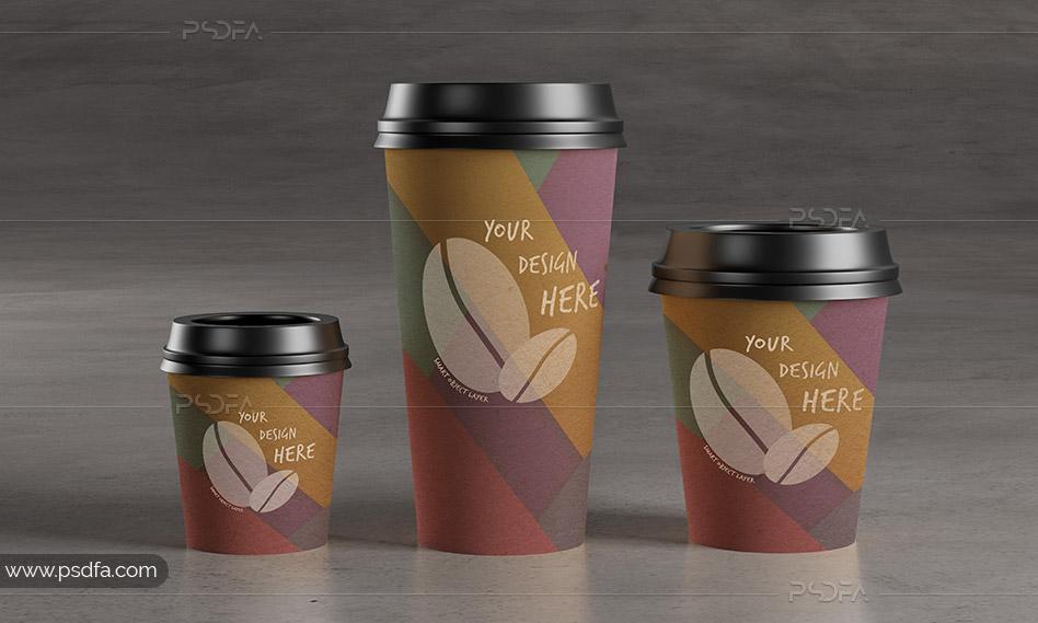 قالب لایه باز موکاپ لیوان کاغذی قهوه با فرمت PSD برای فتوشاپ