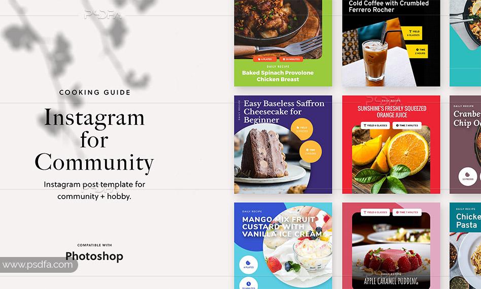 قالب لایه باز پست اینستاگرام آموزش آشپزی برای فتوشاپ