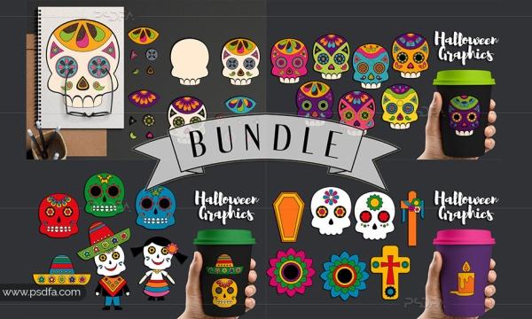 تصاویر کلیپ آرت فانتزی جمجمه ، اسکلت و عناصر طراحی هالووین با فرمت PNG
