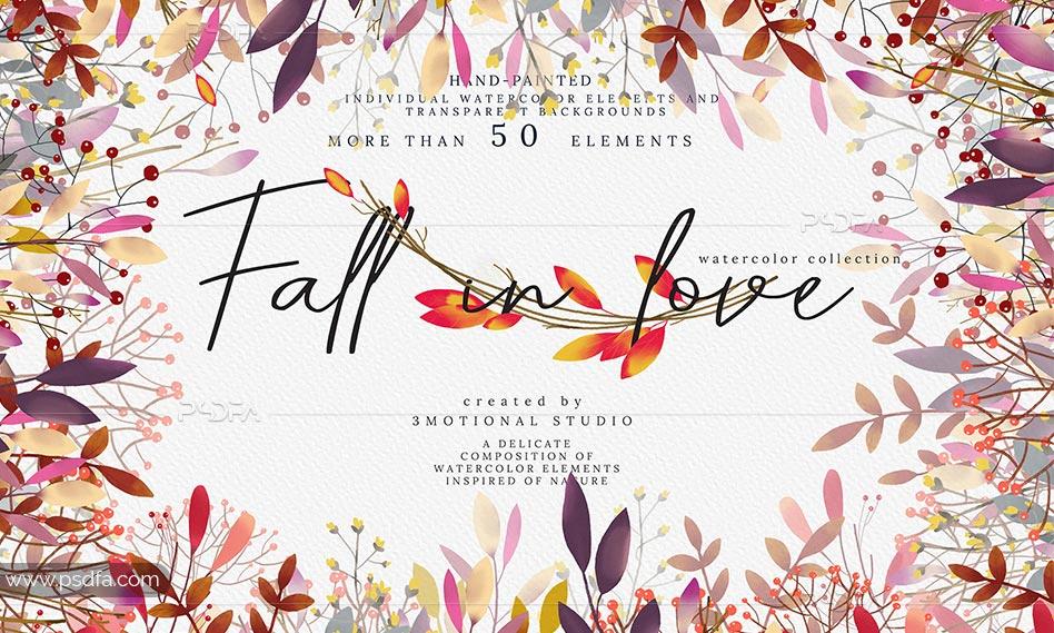 طرح آبرنگی گل و بوته رمانتیک و عاشقانه مناسب برای طراحی