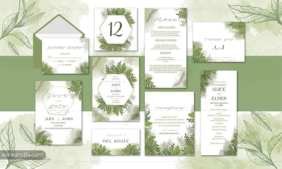 طرح لایه باز کارت عروسی با طرح گل های سبز آبرنگی برای فتوشاپ