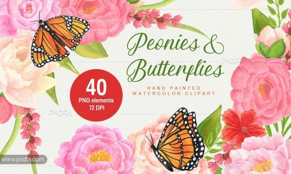 کلیپ آرت آبرنگی گل و پروانه بدون بک گراند مناسب برای طراحی