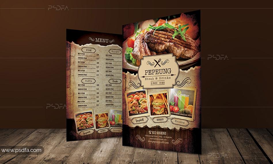طرح لایه باز منوی رستوران با طرح رترو و کلاسیک برای فتوشاپ