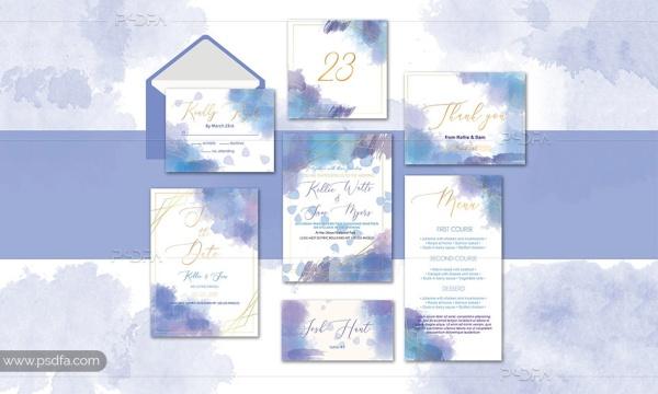 طرح آبرنگی کارت دعوت عروسی