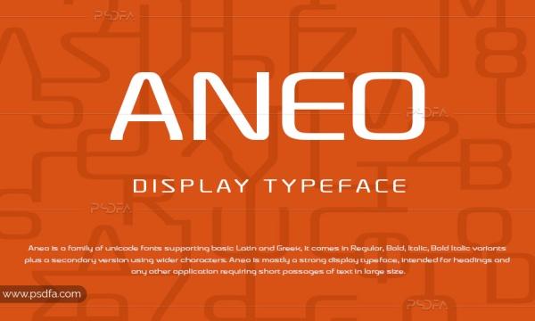 فونت تایپ انگلیسی Aneo با 8 وزن متنوع -Aneo Display Typeface Font