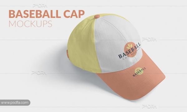قالب لایه باز موکاپ کلاه کپ بیسبال و ورزشی با فرمت PSD