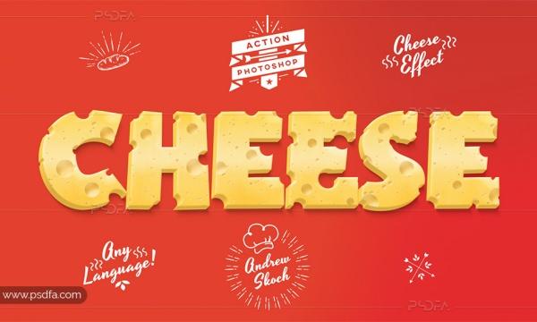 اکشن فتوشاپ افکت پنیر ، پیتزا و کیک بر روی متن و اشکال