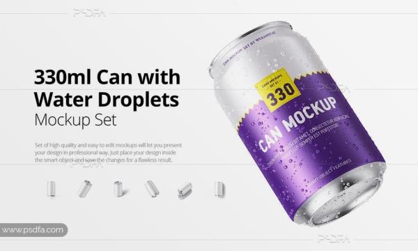 موکاپ قوطی نوشیدنی نوشابه ، دلستر و رانی 330 میلی لیتری با افکت قطرات آب