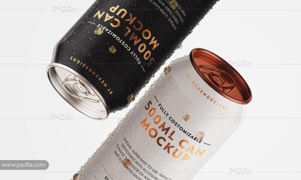 موکاپ قوطی نوشابه و نوشیدنی متالیک و فویلی 500ml با فرمت PSD برای فتوشاپ