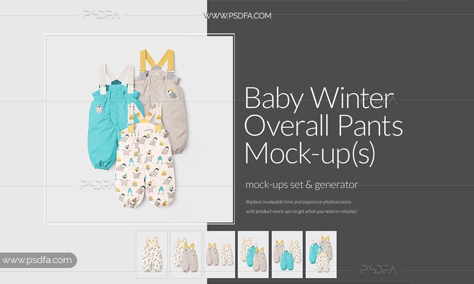 قالب لایه باز موکاپ شلوار پیش بندی زمستانی کودک با فرمت PSD برای فتوشاپ