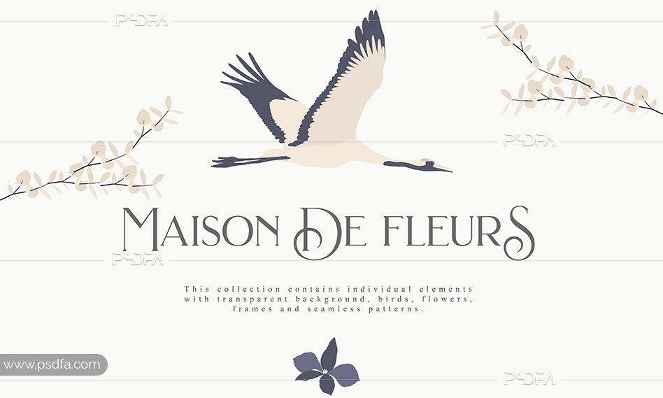 وکتور تصاویر کلیپ آرت پرنده و گل و بوته فانتزی به همراه پترن ، فریم و …