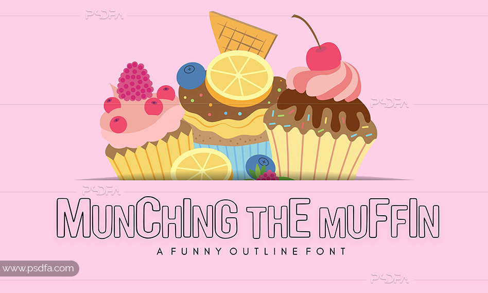 فونت انگلیسی توخالی Munching the Muffin مناسب برای طراحی