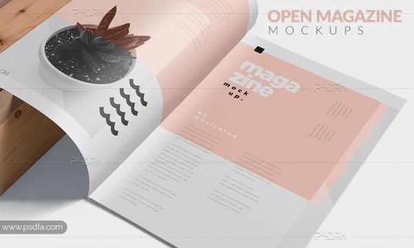 قالب لایه باز موکاپ مجله برای طرح های تبلیغاتی قابل ویرایش در فتوشاپ