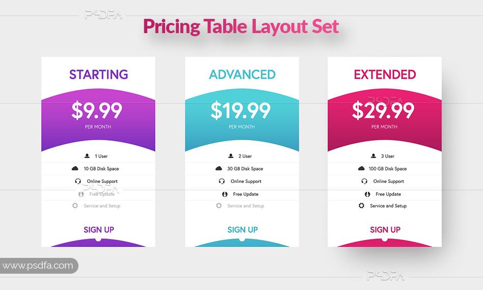 طرح لایه باز پلان و جدول قیمت گذاری مناسب برای طراحی صفحات وب سایت