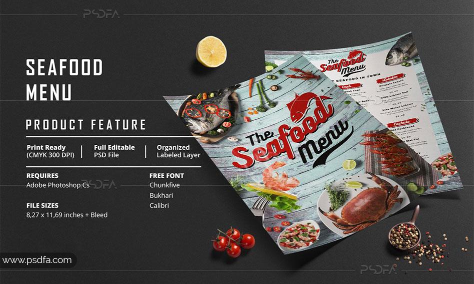 طرح لایه باز تراکت و منوی غذایی رستوران دریایی و سی فود با فرمت PSD