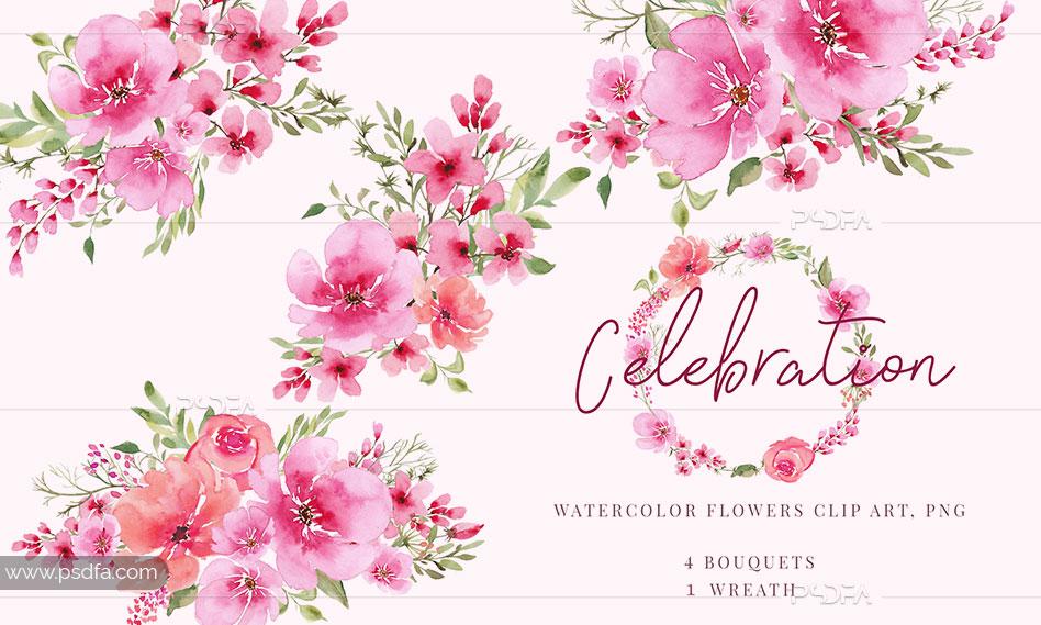 طرح آبرنگی گل و شکوفه صورتی به صورت Transparent