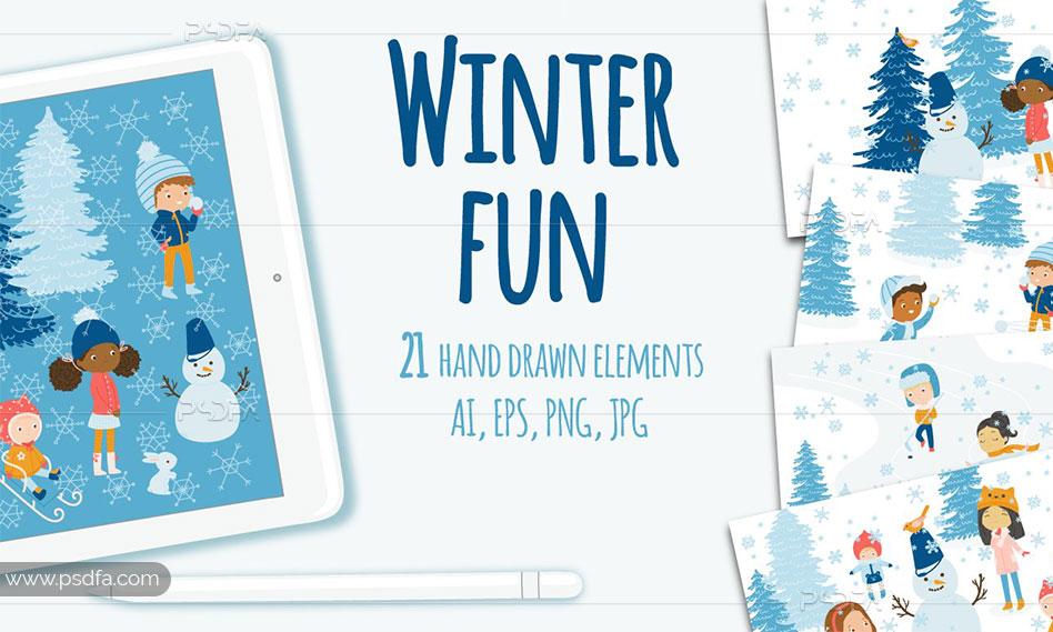 تصاویر وکتور فانتزی و کارتونی برف بازی کودکان در زمستان