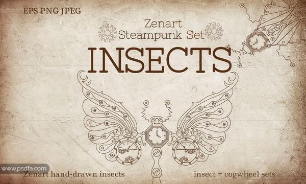 طرح وکتور تصاویر فانتزی حشرات تزئینی با کیفیت بالا