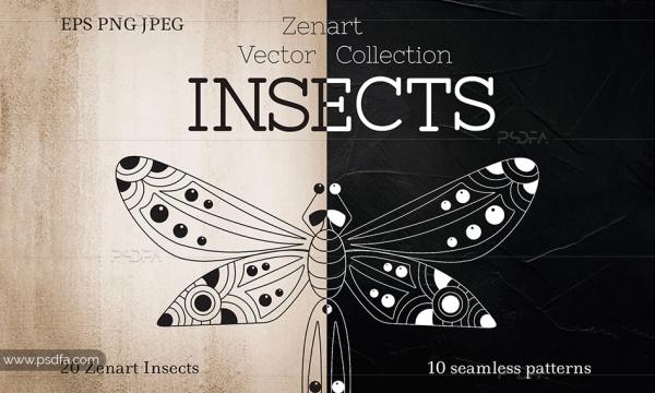 طرح وکتور تصاویر کلیپ آرت حشرات تزئینی و فانتزی برای طراحی