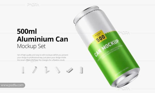 موکاپ قوطی نوشابه و نوشیدنی 500 میلیلیتری – 500ml Can Mockup