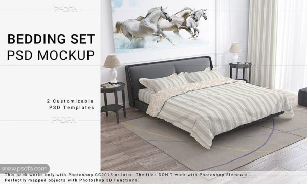 موکاپ ملحفه و روبالشتی تخت خواب لایه باز برای فتوشاپ