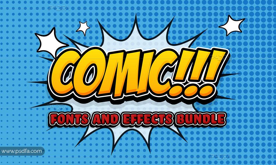 افکت متن کمیک لایهباز psd برای فتوشاپ – Comic Text Effect Mockup