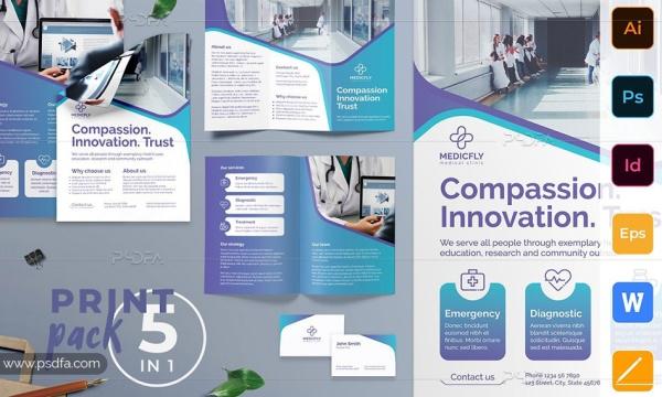 ست قالب لایه باز تراکت ، بروشور ، پوستر و کارت ویزیت کلینیک پزشکی