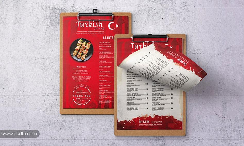 طرح لایهباز منوی غذایی ترکی تک برگی برای فتوشاپ