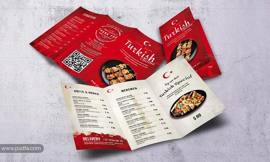 طرح لایهباز بروشور منوی غذای ترکی psd برای فتوشاپ