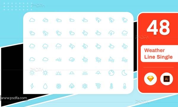 آیکون آب و هوا خطی وکتور برای ایلوستریتور و اسکچ